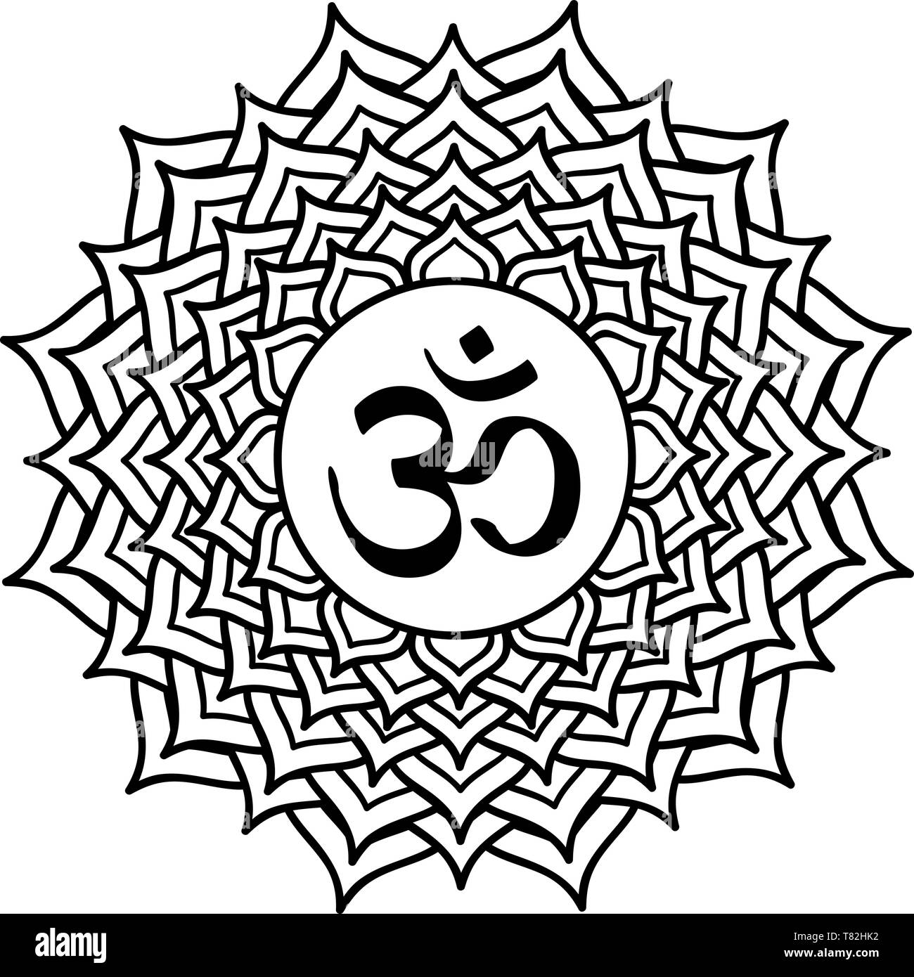 sahasrara chakra om crown thousandfold crest white transparent - Stock Image