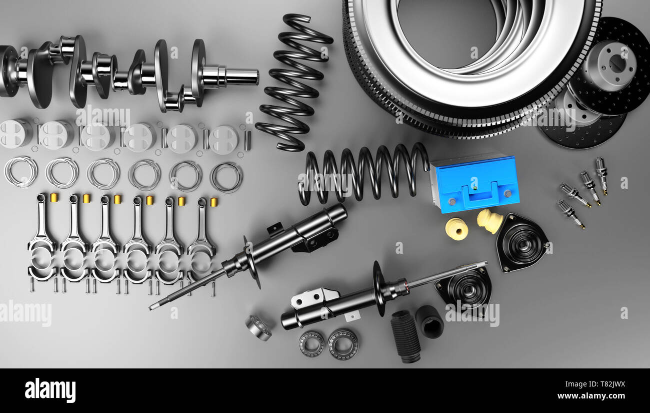 Aftermarket Auto Parts >> Auto Parts Spare Parts Car On The Grey Background Set With