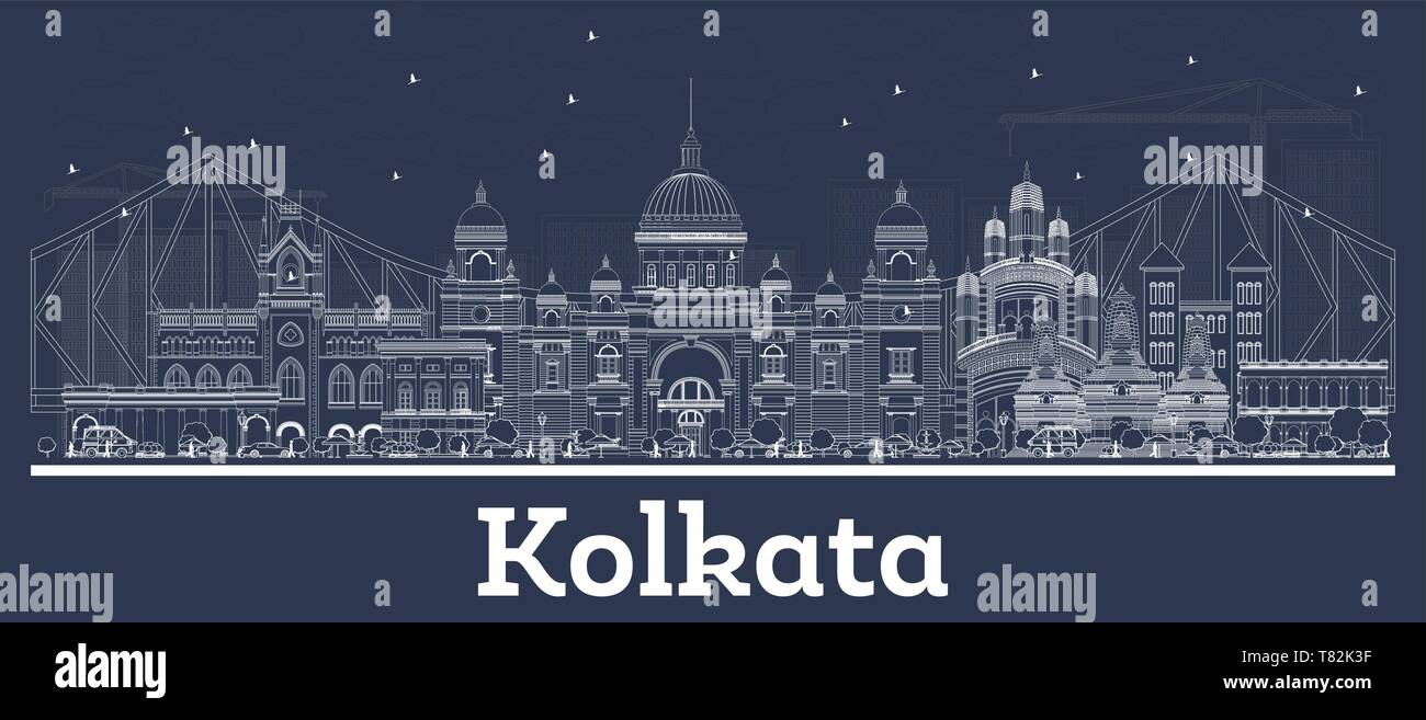Outline Kolkata India City Skyline with White Buildings. Vector Illustration. Business Travel and Concept with Historic Architecture. Kolkata. - Stock Vector