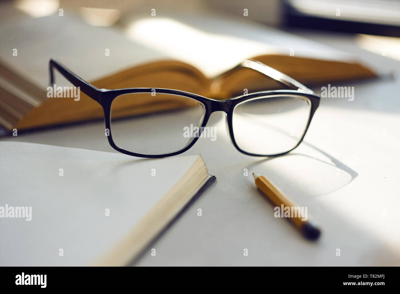 d9a6d6e698a8 On the white surface of the table are an open book, an open notebook,