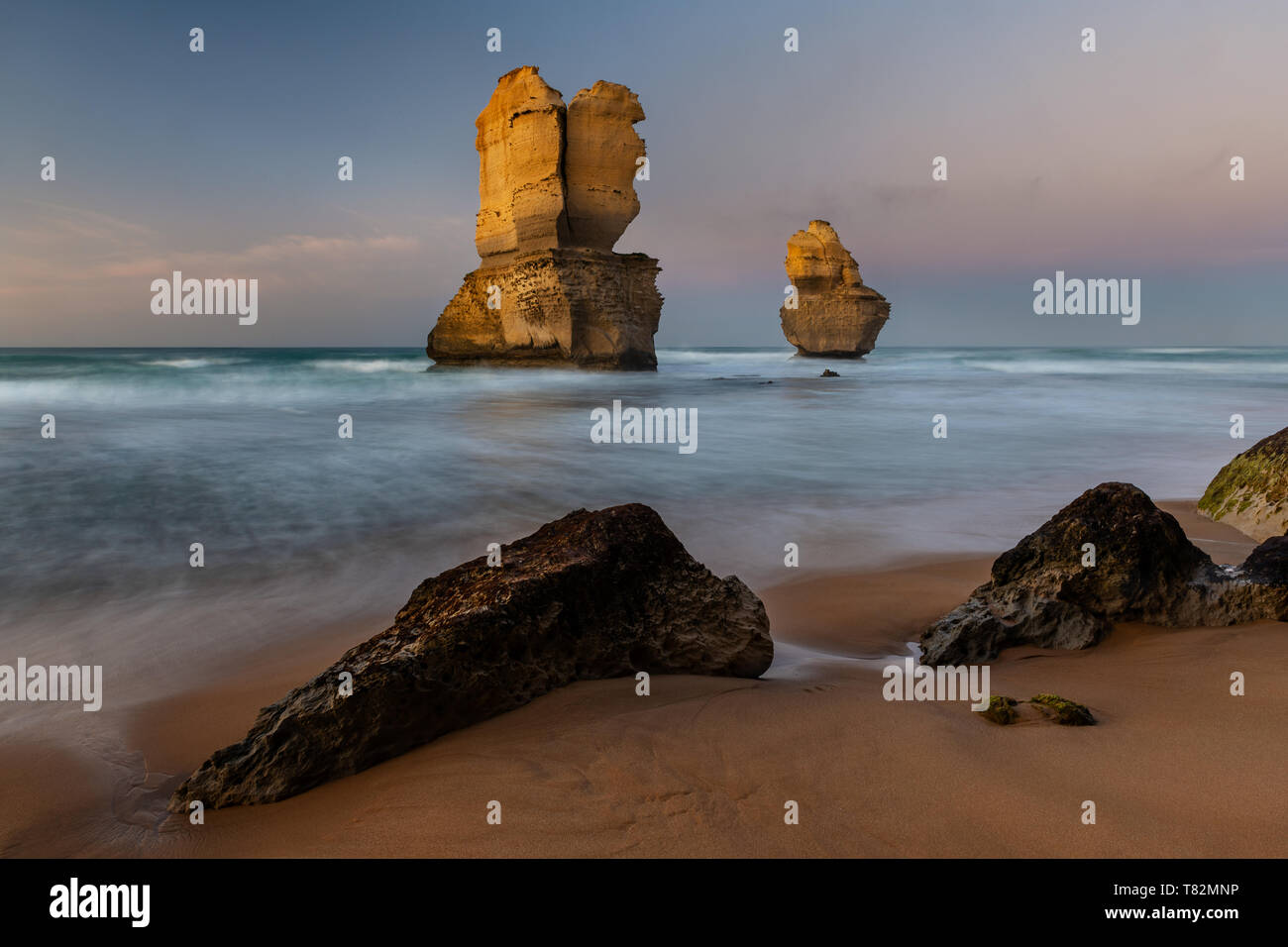 Dawn at the beach of Port Campbell National Park. Stock Photo
