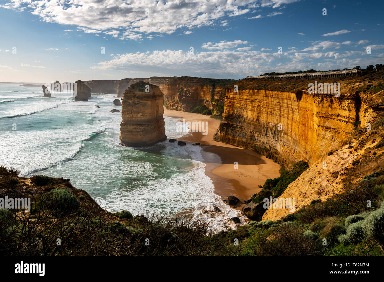 The famous Twelve Apostles in Port Campbell National Park at the Great Ocean Road. Stock Photo