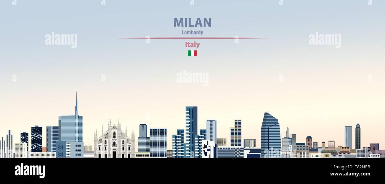 Milan city skyline on beautiful daytime background vector illustration - Stock Vector