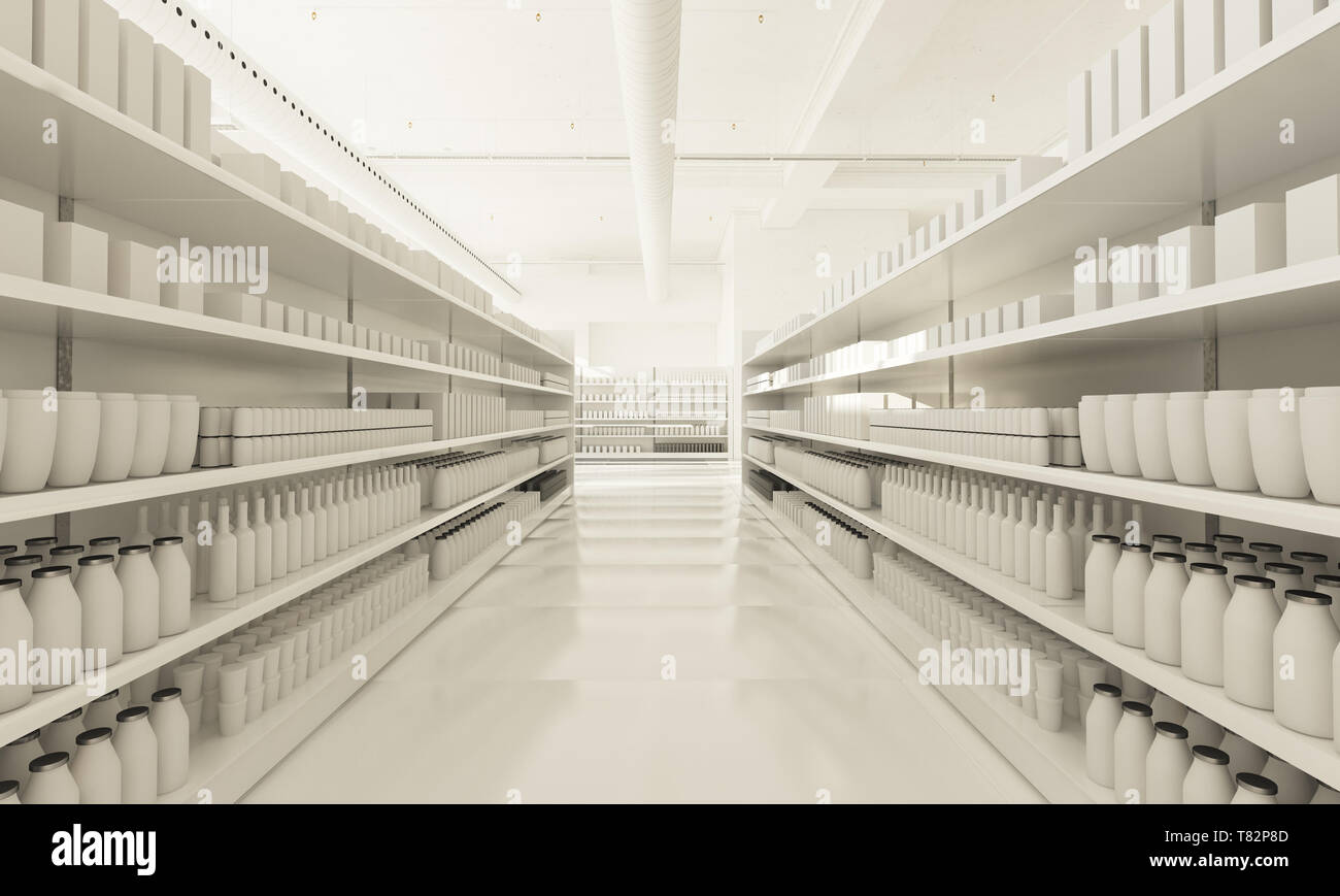 white supermarket shelves 3d rendering Stock Photo