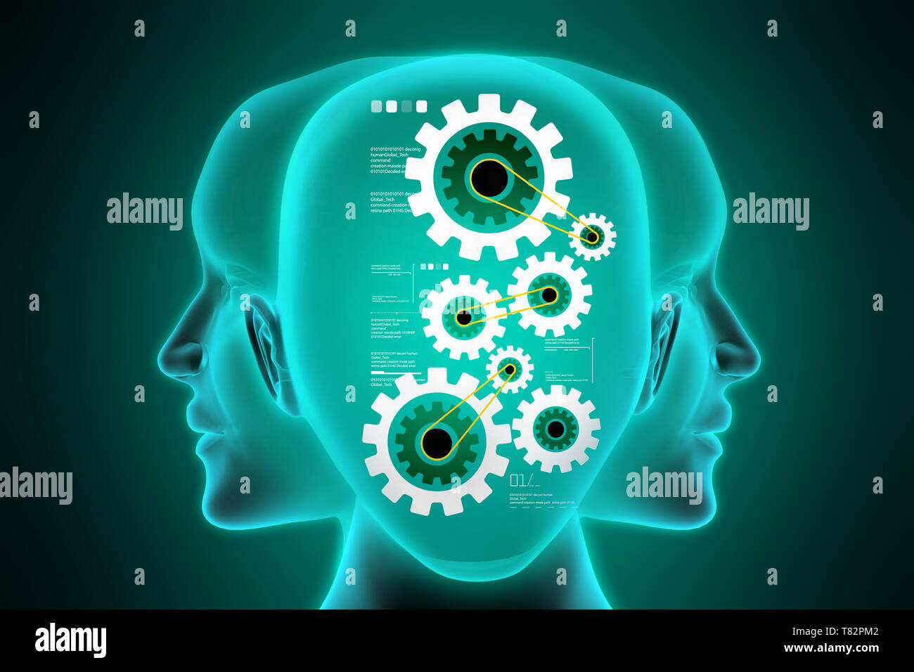 Female face with gear mechanism - Stock Image