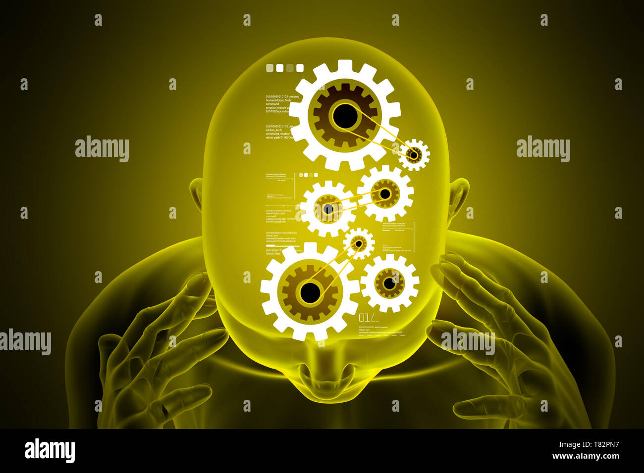 Female head with gear mechanism - Stock Image