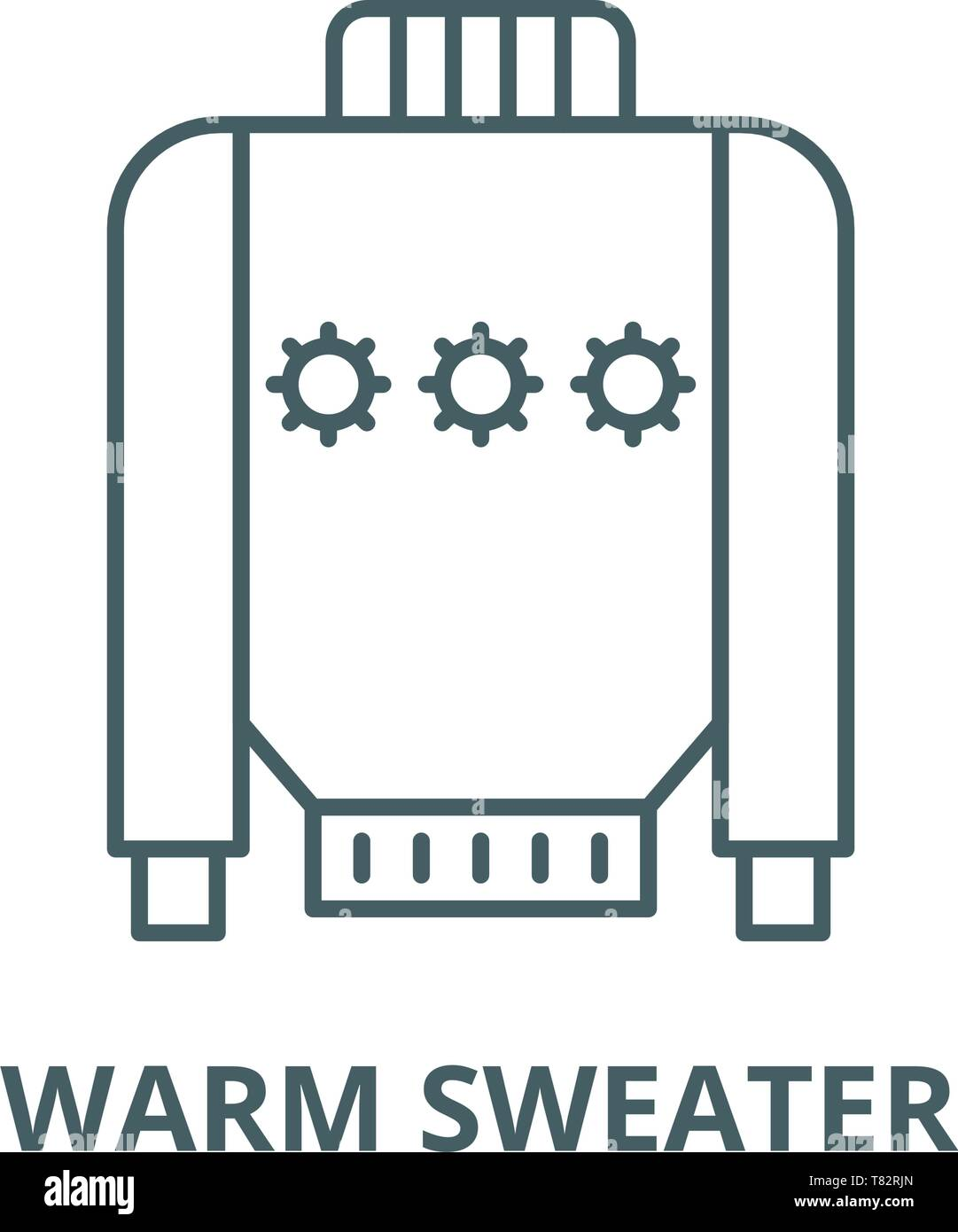 Warm sweater vector line icon, linear concept, outline sign, symbol - Stock Vector