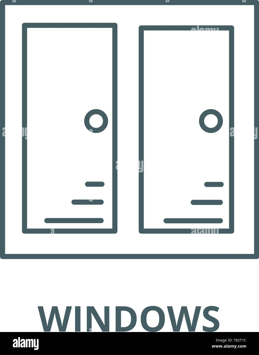 Windows vector line icon, linear concept, outline sign, symbol Stock