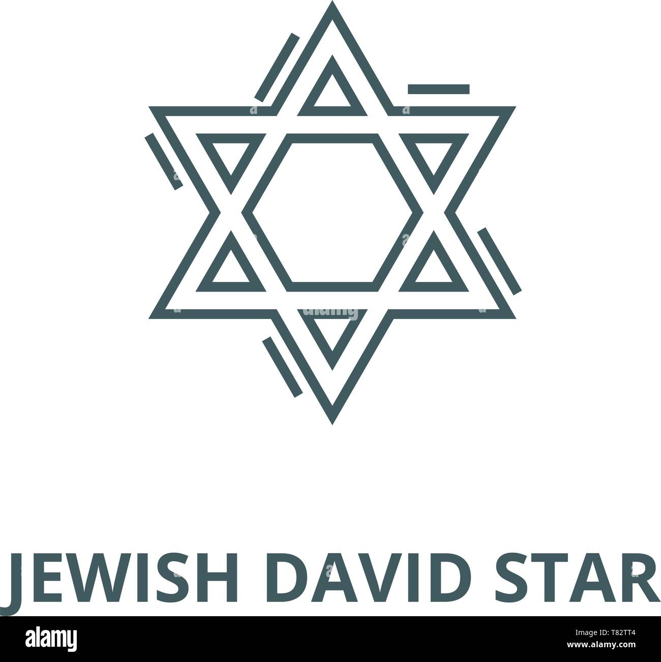 Jewish david star vector line icon, linear concept, outline sign, symbol - Stock Vector