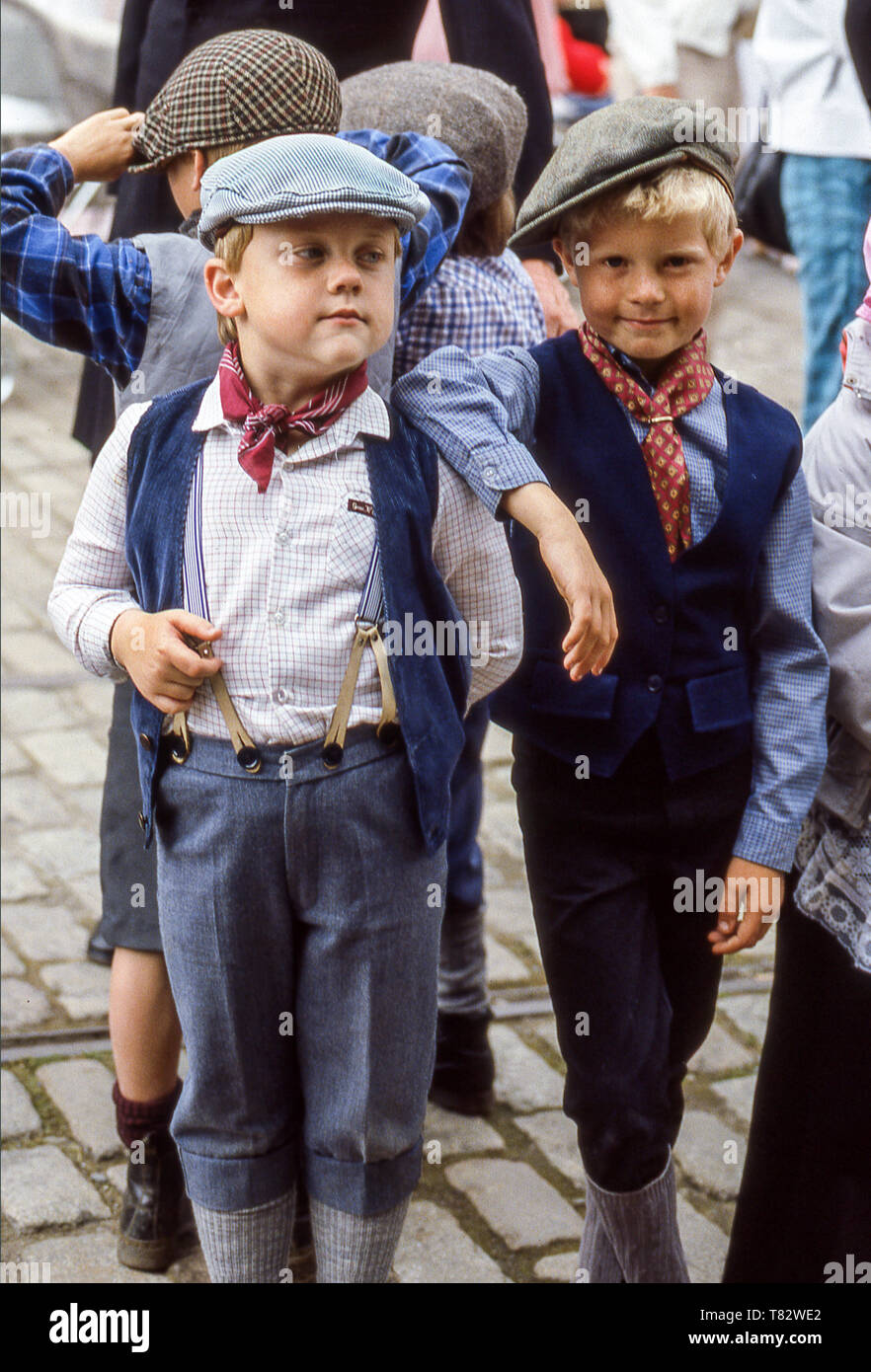 Young children dressed as for the 1900s at the Beamish Museum in County Durham.England. - Stock Image