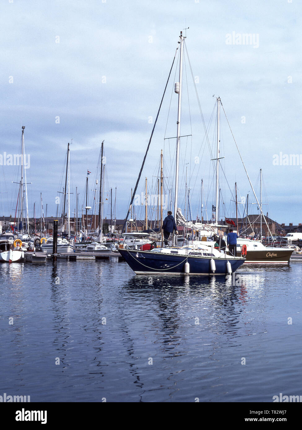 Amble harbour on the North Sea coast of Northumberland..England - Stock Image