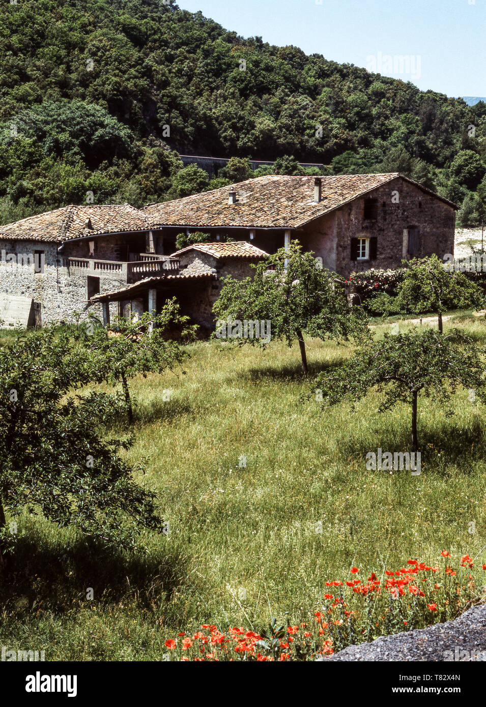 A typical farmhouse of the Ardeche Department.southeast France. - Stock Image
