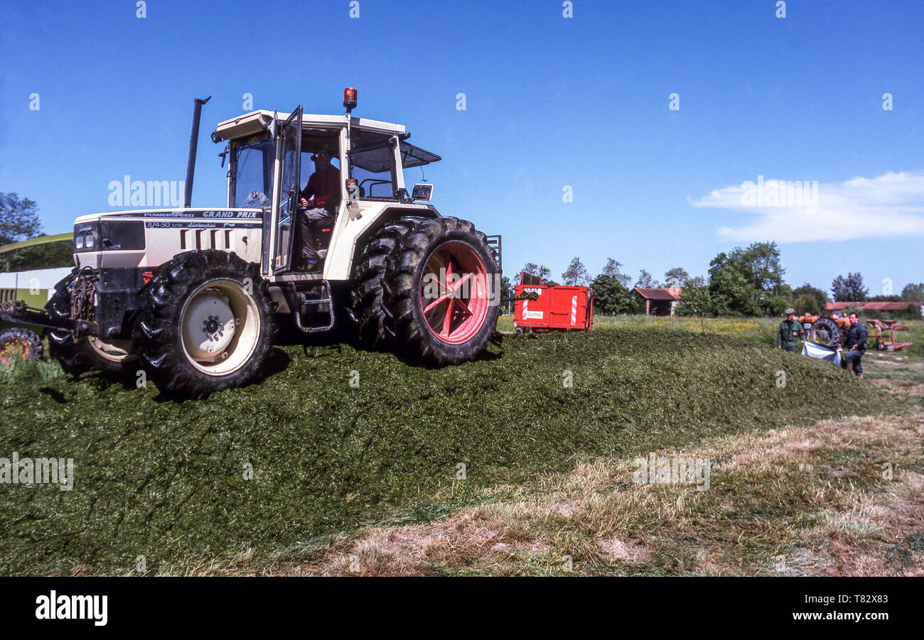 French farmers making silage. Hautes-Pyrenees.France. - Stock Image