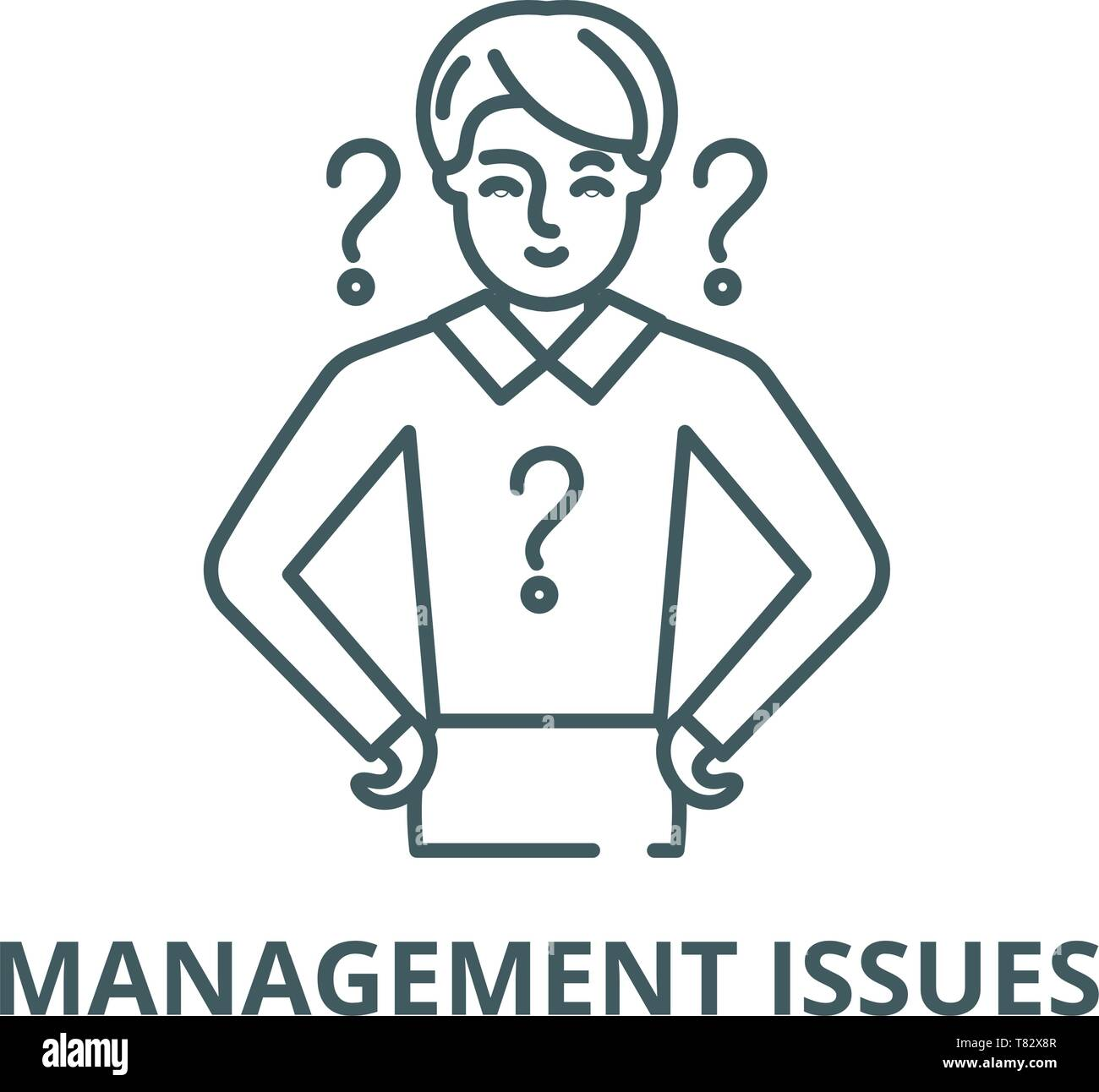 Management issues vector line icon, linear concept, outline sign, symbol - Stock Vector