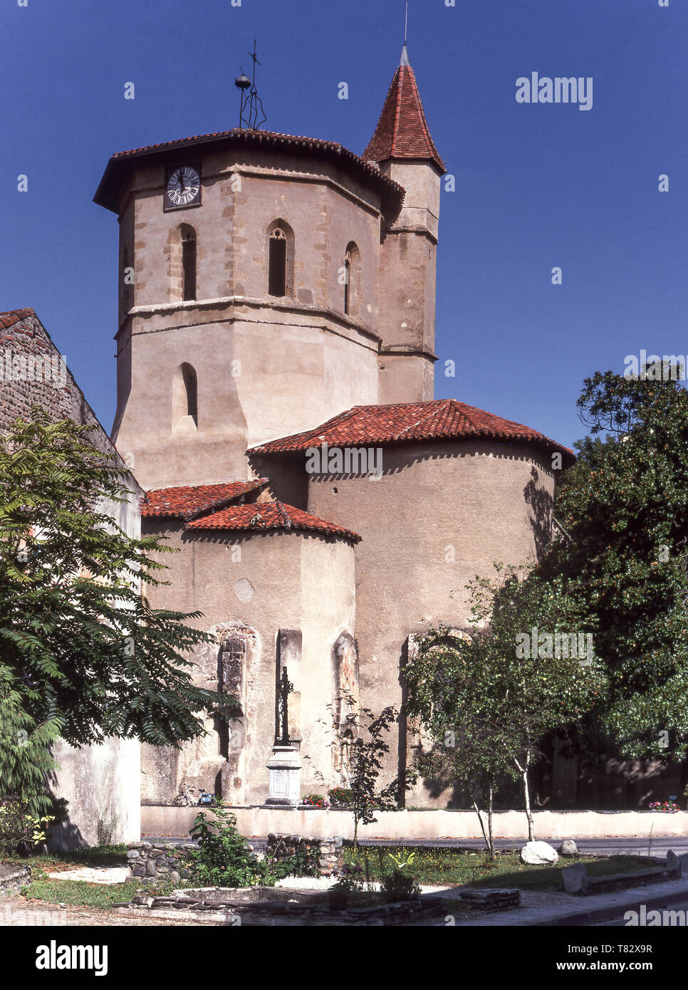 The Church of the Templars in the market town of Maubourguet in the Department of Hautes-Pyrenees. - Stock Image