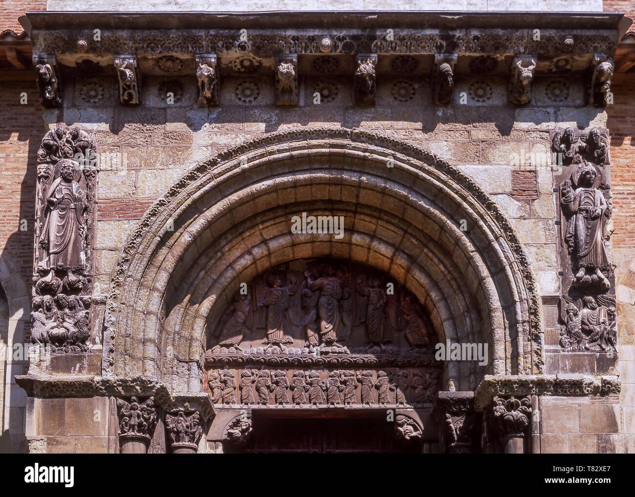 St Sever de Rustan,Romanesque Abbey of 1028 AD.Dept Hautes-Pyrenees.Southwest France. - Stock Image