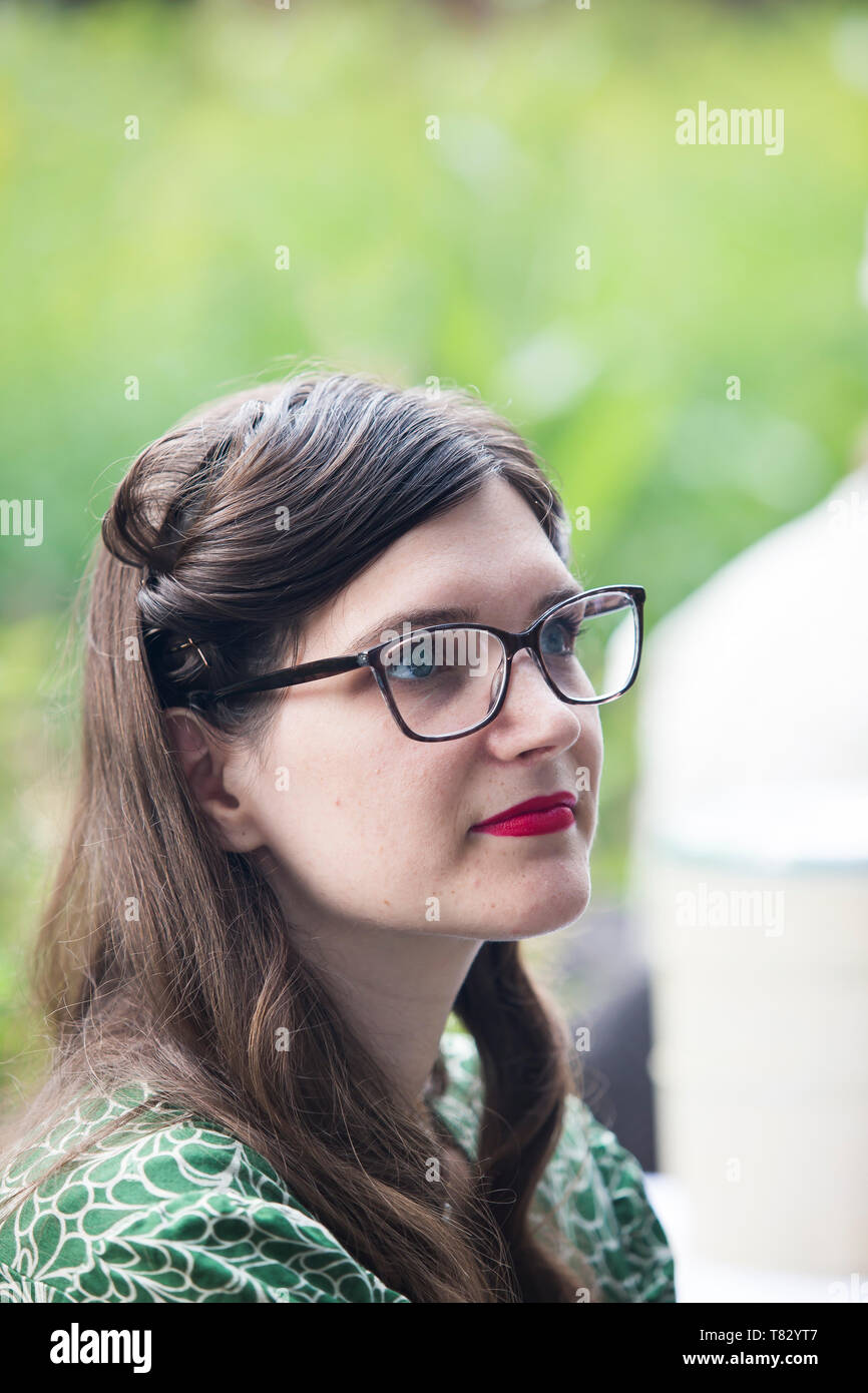 Close-up front view portrait of young woman at the Black Country Living Museum, 1940's wartime weekend, summer 2018. - Stock Image