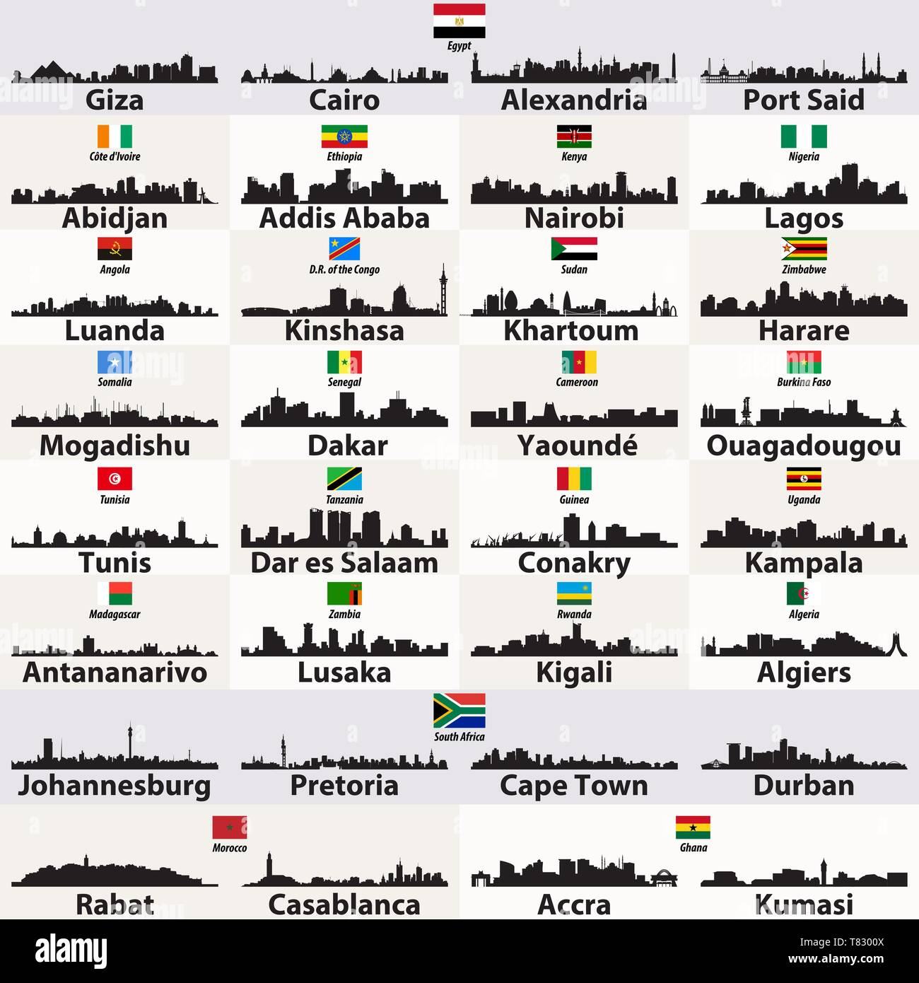 vector outlines icons of african cities skylines - Stock Image