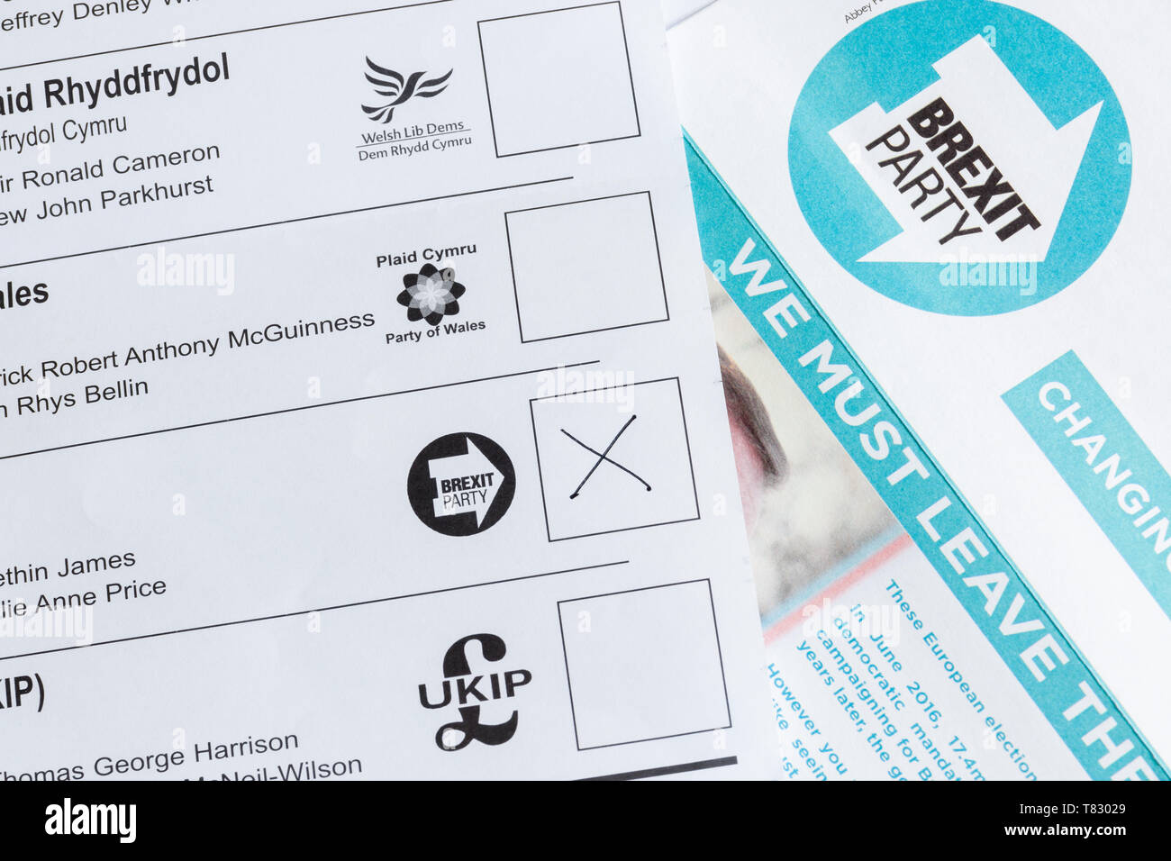 EU parliamentary election postal ballot or voting form with the Brexit party voting box and leaflet for the May 23rd 2019 elections Stock Photo