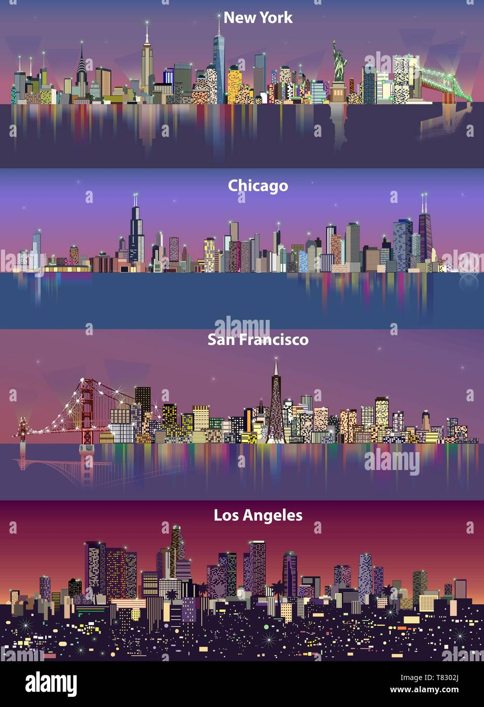 abstract vector illustrations of United States city skylines (New York, Chicago, San Francisco and Los Angeles) at night with map - Stock Vector