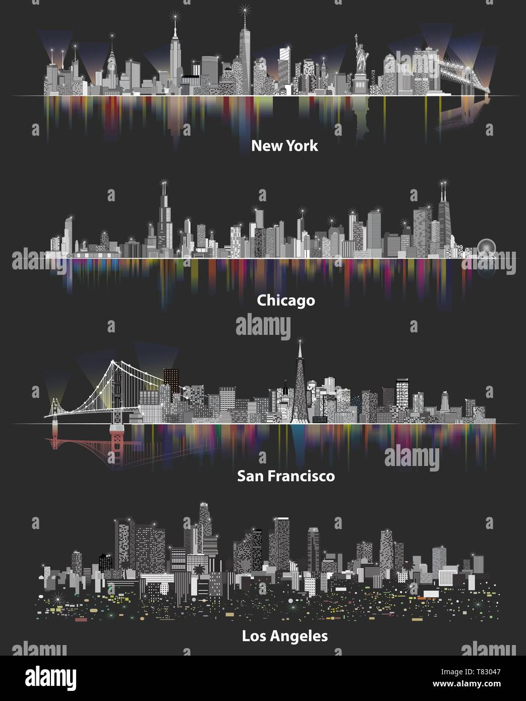 abstract vector illustrations of United States city skylines - Stock Vector
