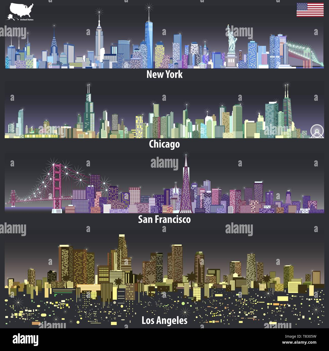 vector illustrations of United States city skylines - Stock Vector