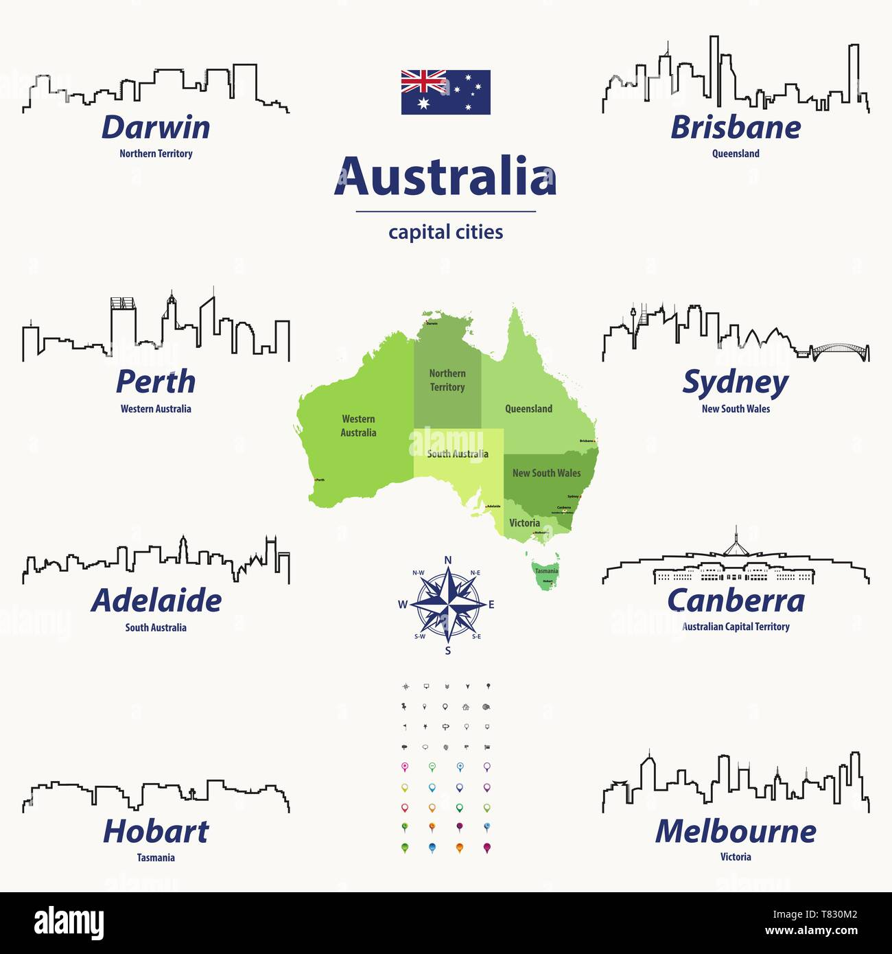 Australia Map With Capital Cities.Vector Illustration Of Australia States Map With Skylines Of Capital