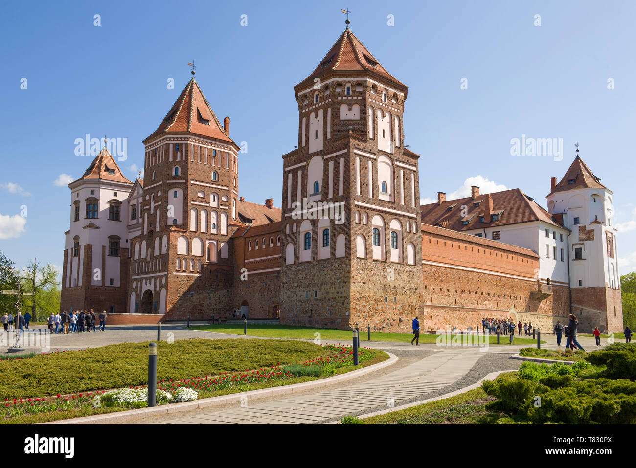 MIR, BELARUS - MAY 01, 2019: Mir Castle close up on a sunny May morning - Stock Image