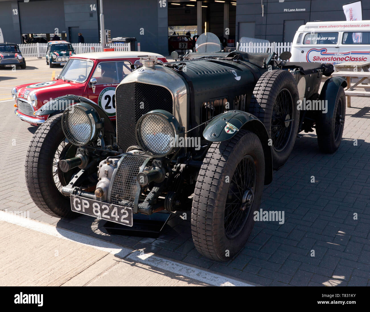 A Green, 1931 Pre-War  Bentley Blower  on display,  in front of the Wing, during the 2019 Silverstone Classic Media Day Stock Photo