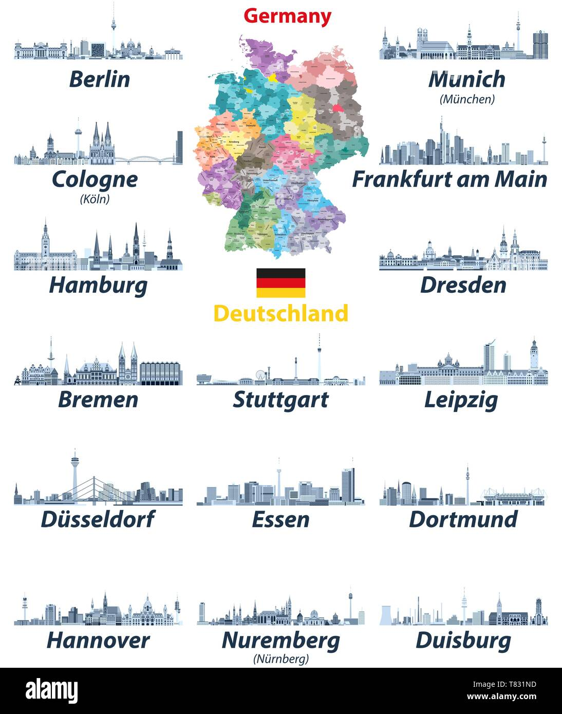 vector illustration of Germany high detailed map with ...