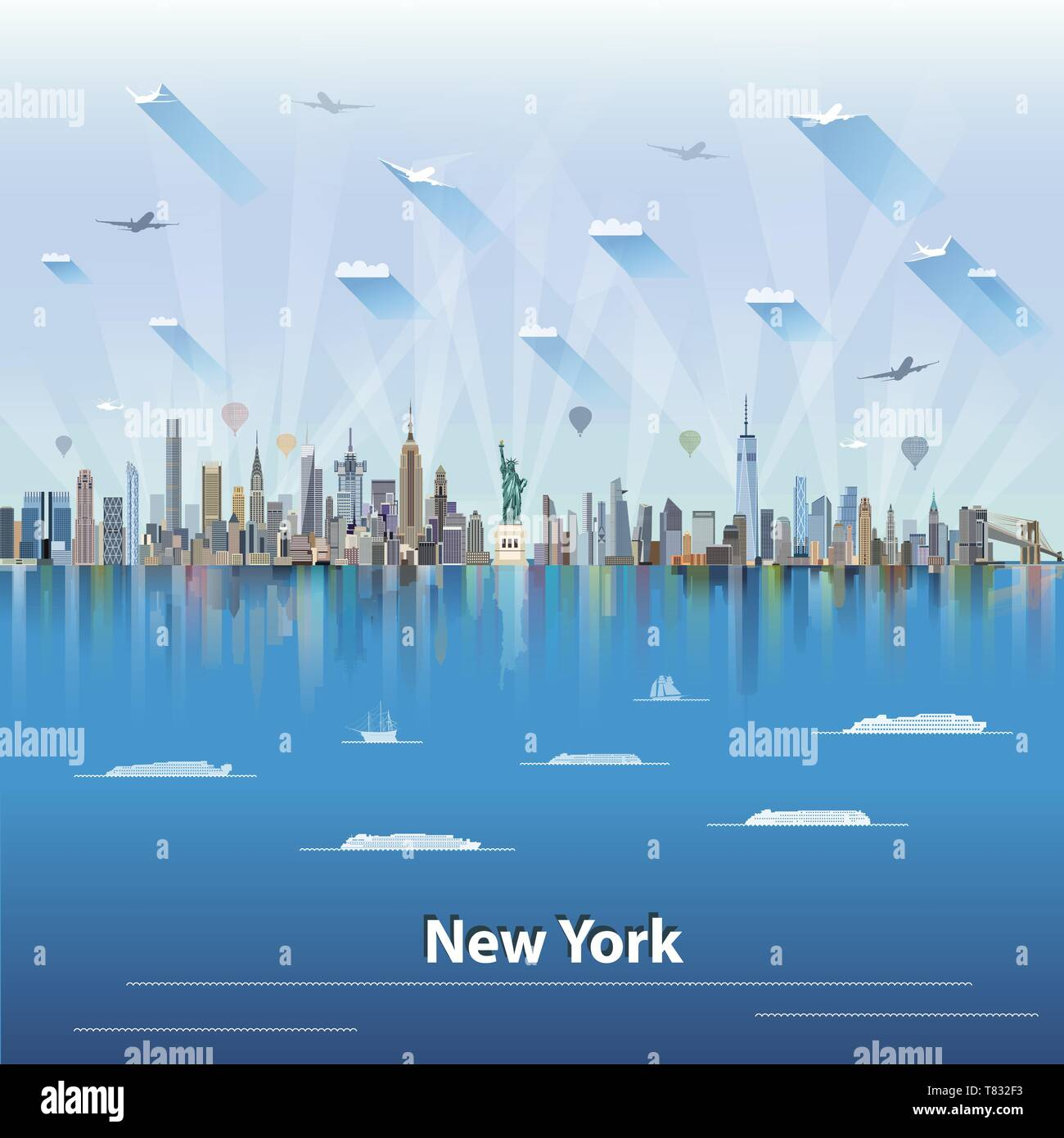vector illustration of New York panoramic city skyline - Stock Vector