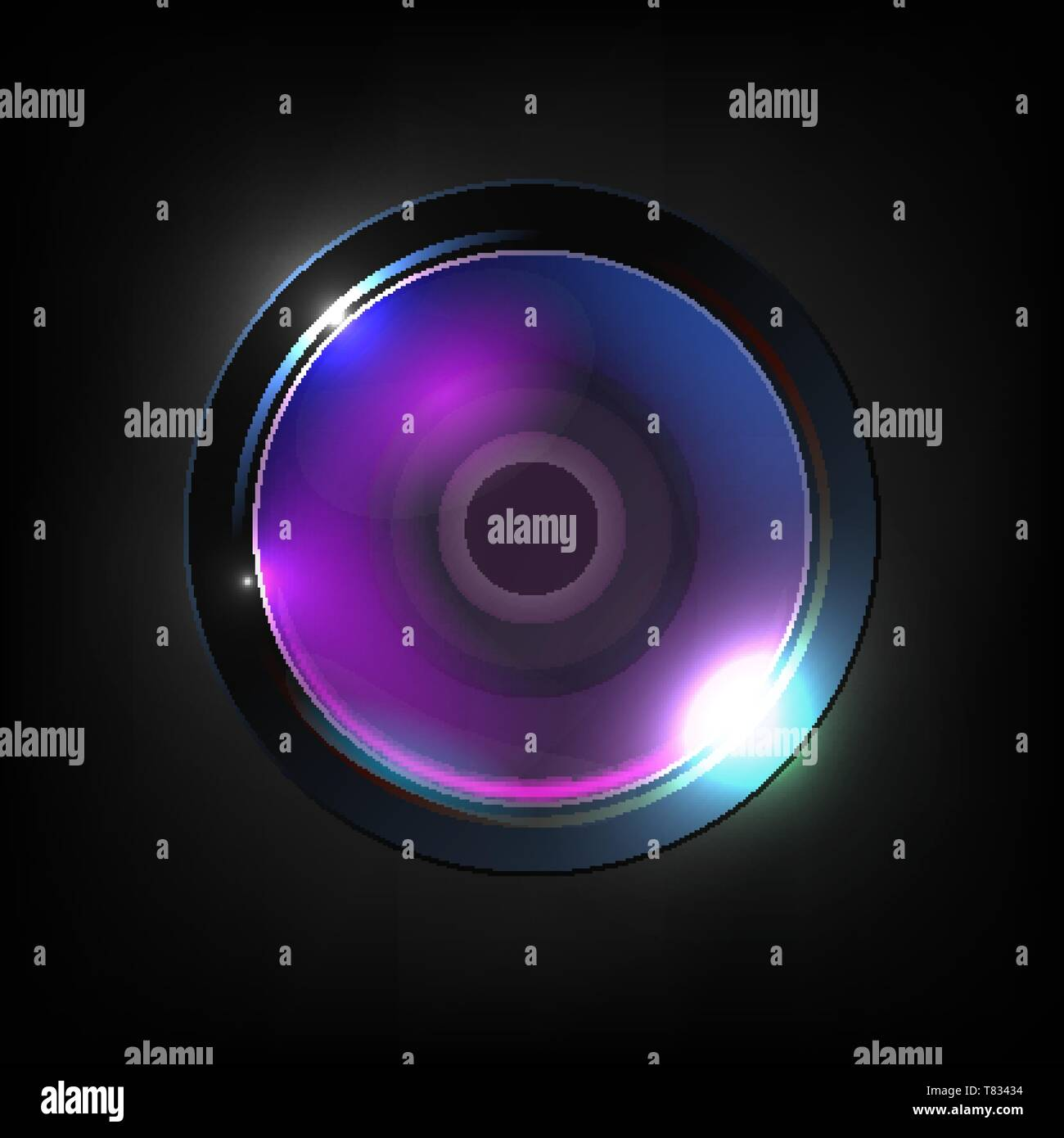 Realistic High Quality Photo Optical Lens Vector. Lens Used For Still Video Camera, Telescope, Microscope And Smartphone Or Other Apparatus. Purple Ph - Stock Image