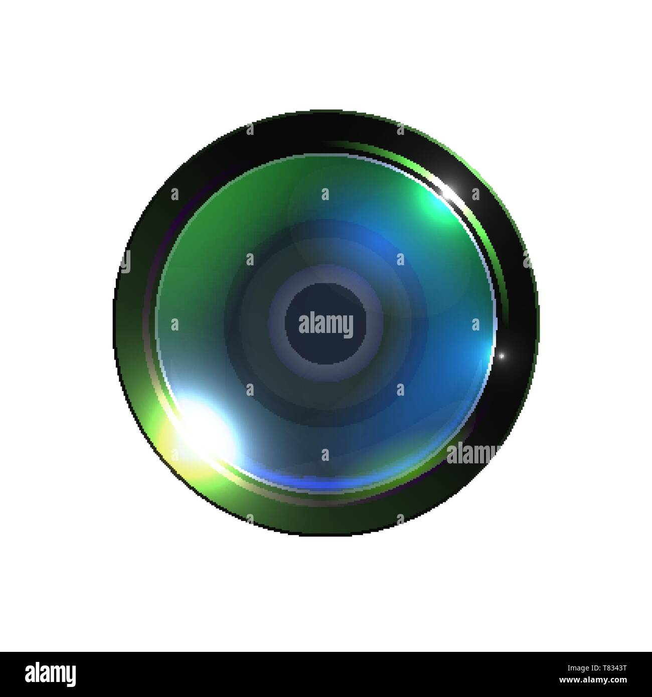 Realistic High Quality Photo Video Lens Vector. Modern Technology Optical Lens Or Assembly Of Optic Used In Conjunction With Camera Body. Green Photog - Stock Image
