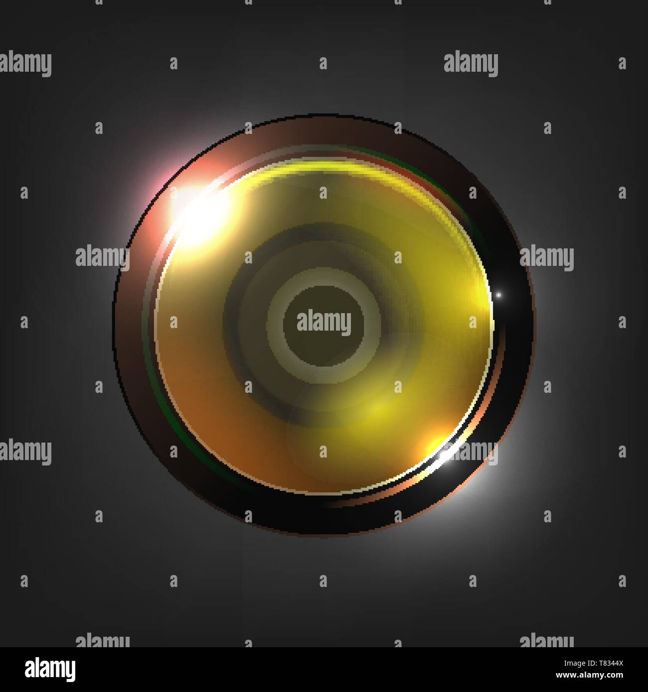Realistic High Quality Camera Photo Lens Vector. Photographic Lens Used In Mechanism To Make Images Of Objects On Media Capable Of Storing Image Chemi - Stock Image