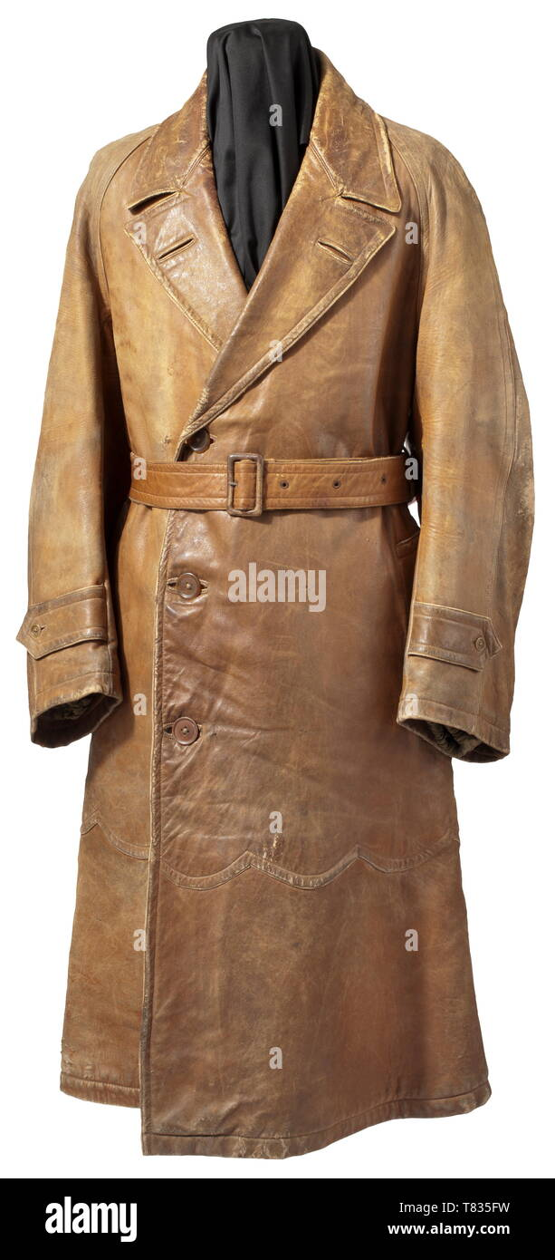 An English pilot's leather jacket Three-quarter length, of light brown leather with turn-down collar and beige wool lining. Two deep side pockets with flap reinforcements, button-closure sleeve straps, plastic buttons, back and hip belt. Without shoulder boards and maker's mark, but typical early first model of a leather jacket for pilots of the First World War. Very rare special clothing item of the English flying corps with signs of usage and age. historic, historical, troop, troops, armed forces, military, militaria, army, wing, group, air force, air forces, 20th century, Editorial-Use-Only - Stock Image