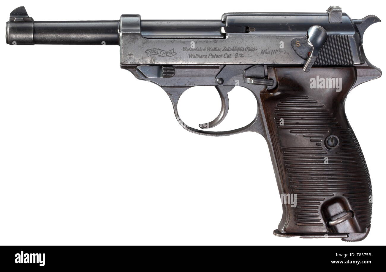 A Walther mod. HP, Ustasa contract Cal. 9 mm Parabellum, no. 12399. Matching numbers. Matt bore. Proof-marked eagle/N. Produced circa mid-1941. Standard inscription. On the right of slide the Ustasa symbol in 'U' shape above Croatian chessboard coat of arms. Original stained finish with traces of usage. Dark brown Bakelite grip panels. Magazine. Good overall condition. The Ustasa contract weapons are the rarest Walther collectors´ weapons existent. Produced within the assumed range numbers 12395 - 12534 merely 13 weapons are known worldwide according to literature. Cf. Buxt, Editorial-Use-Only - Stock Image