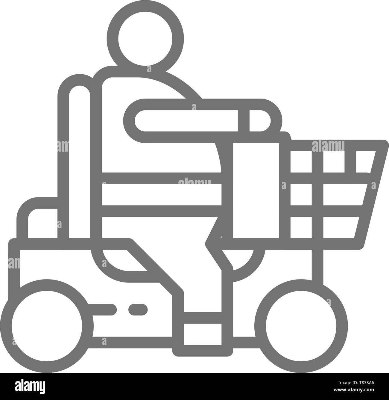 Fat man sitting in wheelchair, disabled carriage, obesity line icon. - Stock Image