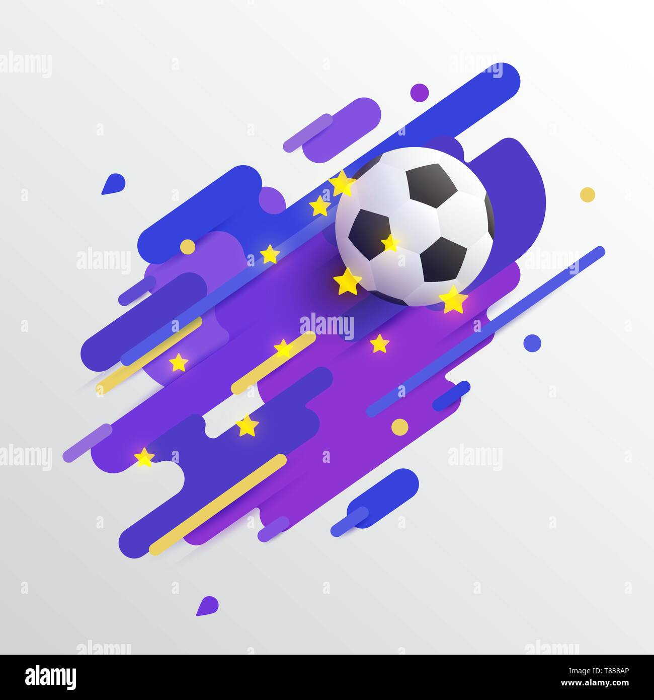 Realistic soccer ball, football, on color bars with bright stars. Vector illustration icon or banners design for soccer championship, games, tournamen - Stock Vector