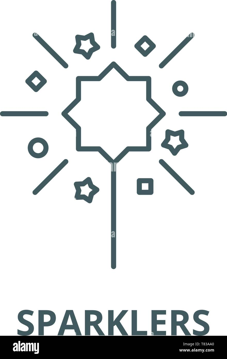 Sparklers vector line icon, linear concept, outline sign, symbol - Stock Vector