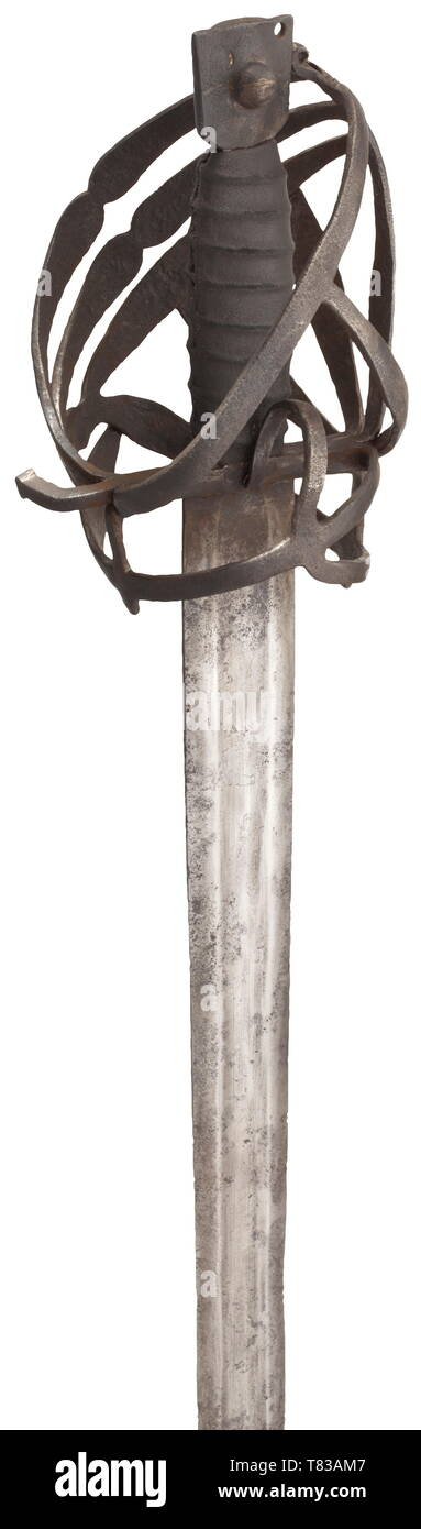 A Venetian schiavona Circa 1600. Double-edged blade with broad fuller. Typical skeleton basket hilt, the grip with added leather cover. Iron cat's head pommel. Surfaces partially with fine pitting. Length 104 cm. historic, historical, sword, swords, weapons, arms, weapon, arm, fighting device, military, militaria, object, objects, stills, clipping, clippings, cut out, cut-out, cut-outs, melee weapon, melee weapons, metal, 17th century, Additional-Rights-Clearance-Info-Not-Available Stock Photo
