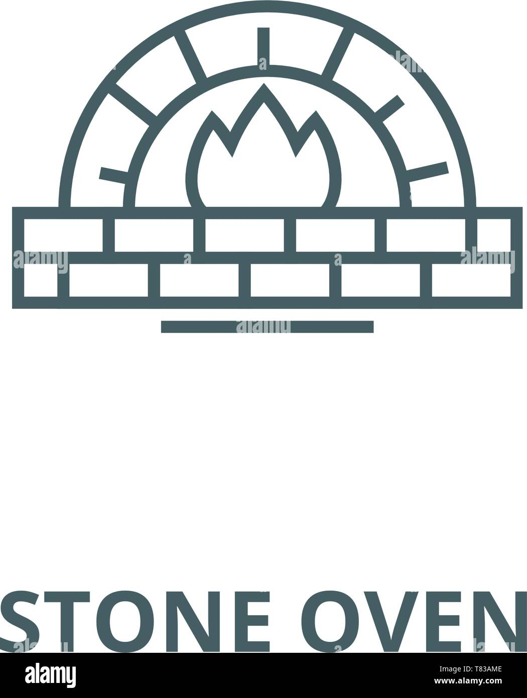 Stone oven vector line icon, linear concept, outline sign, symbol - Stock Image