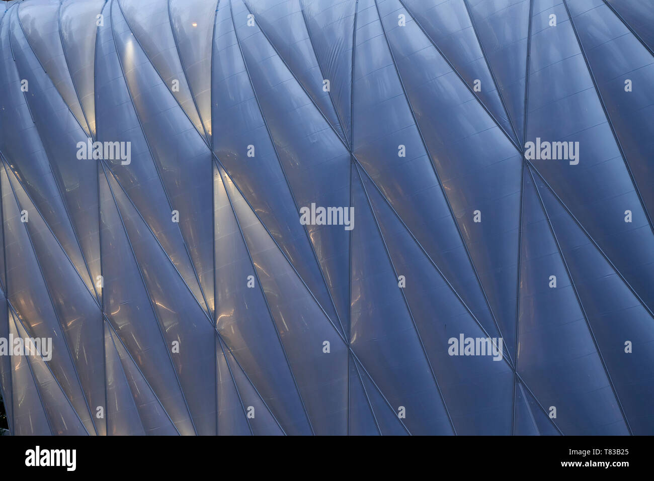 Exterior detail of the moveable roof of The Shed performing Arts Center in New York City - Stock Image