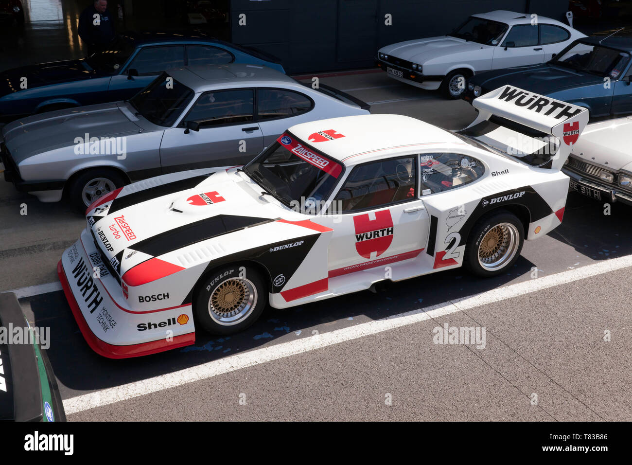 Aerial View of a Zakspeed Ford Capri, in the Pit Lane, during the 2019 Silverstone Classic Media Day Stock Photo