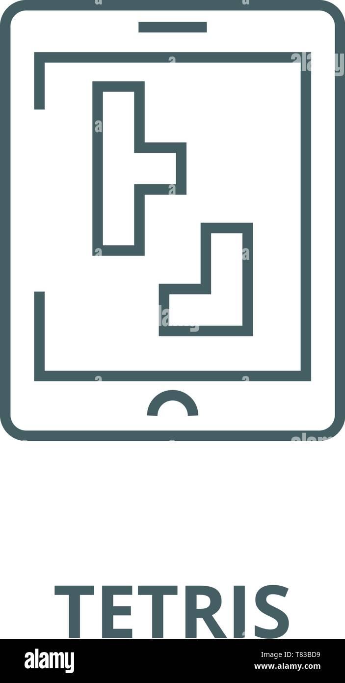 Tetris Vector Line Icon Linear Concept Outline Sign Symbol Stock Vector Image Art Alamy