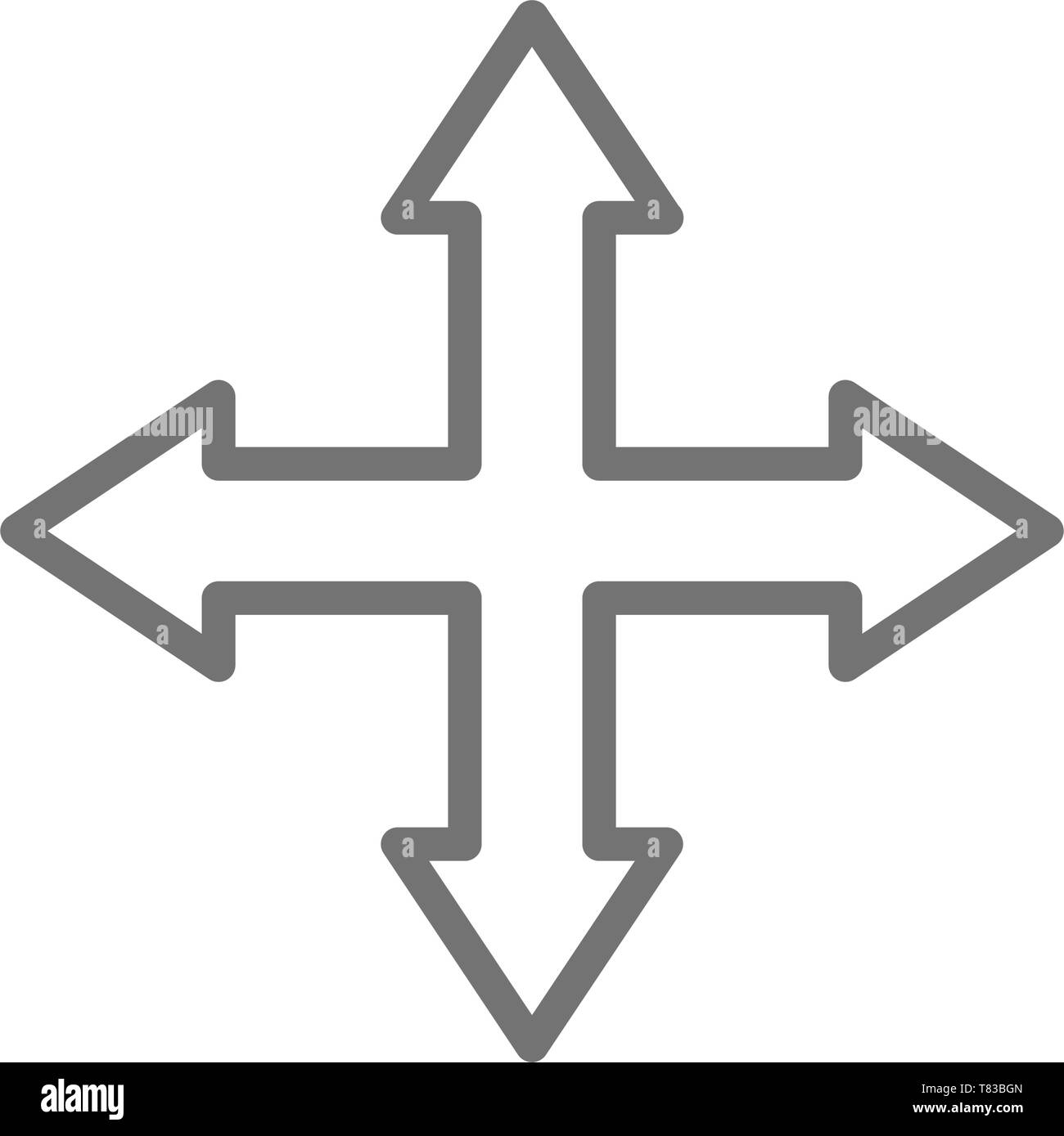 Arrows pointing in different directions, four way, navigation line icon. - Stock Image