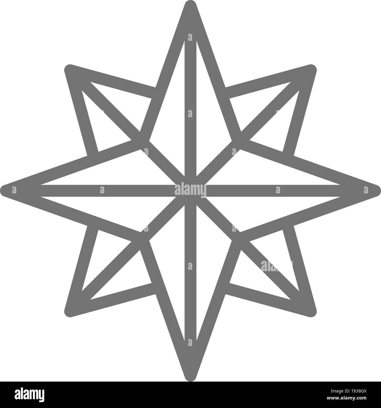 Wind rose, sides of the world, compass, direction, navigation line icon. - Stock Image
