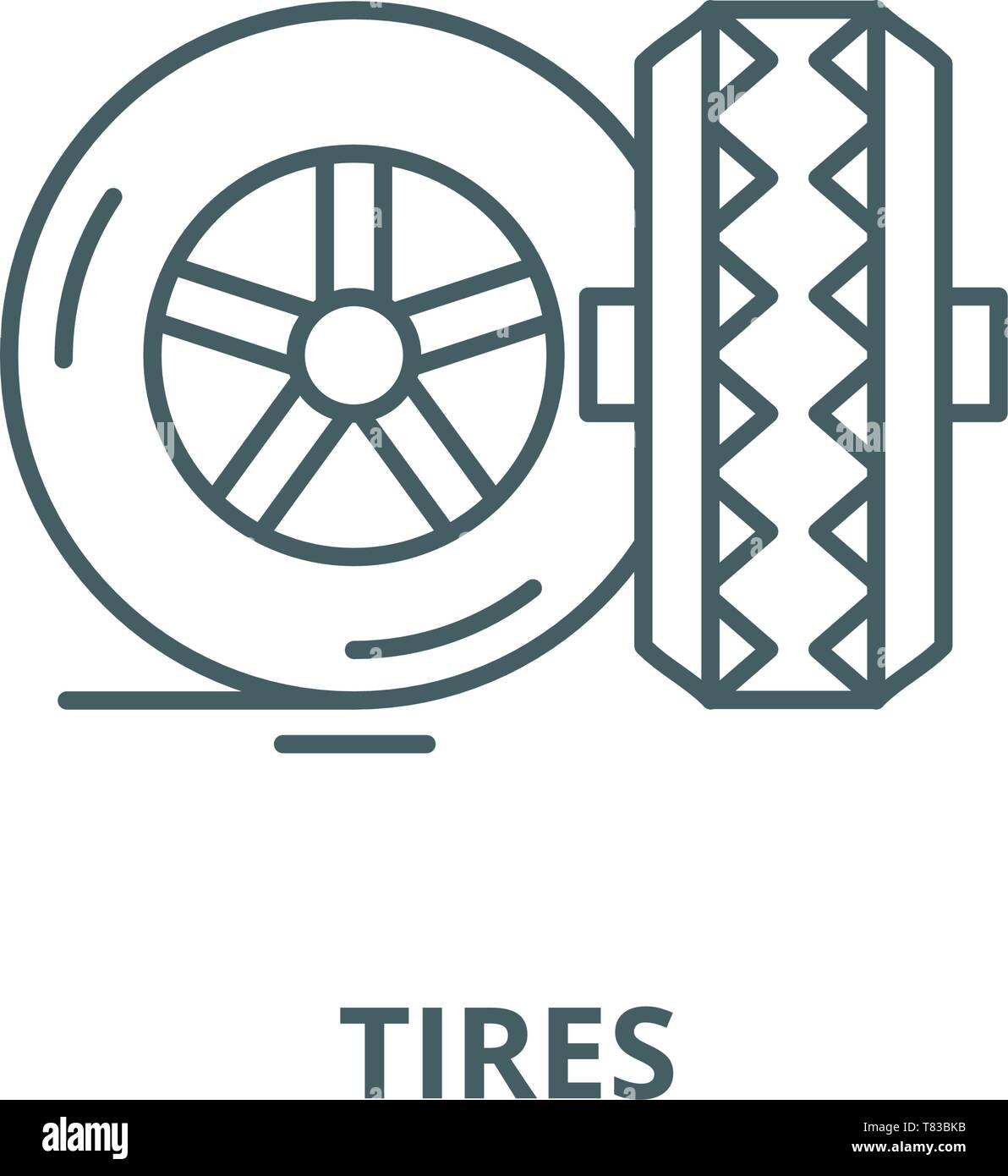 Tires vector line icon, linear concept, outline sign, symbol - Stock Vector