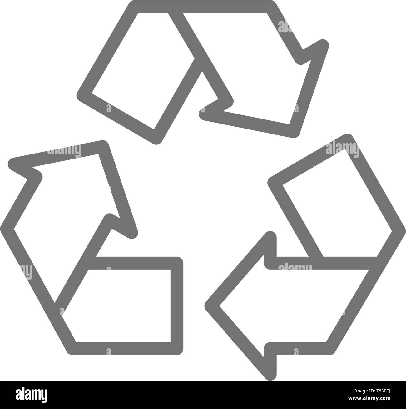 Recycle sign, waste recycling, trash line icon. - Stock Vector