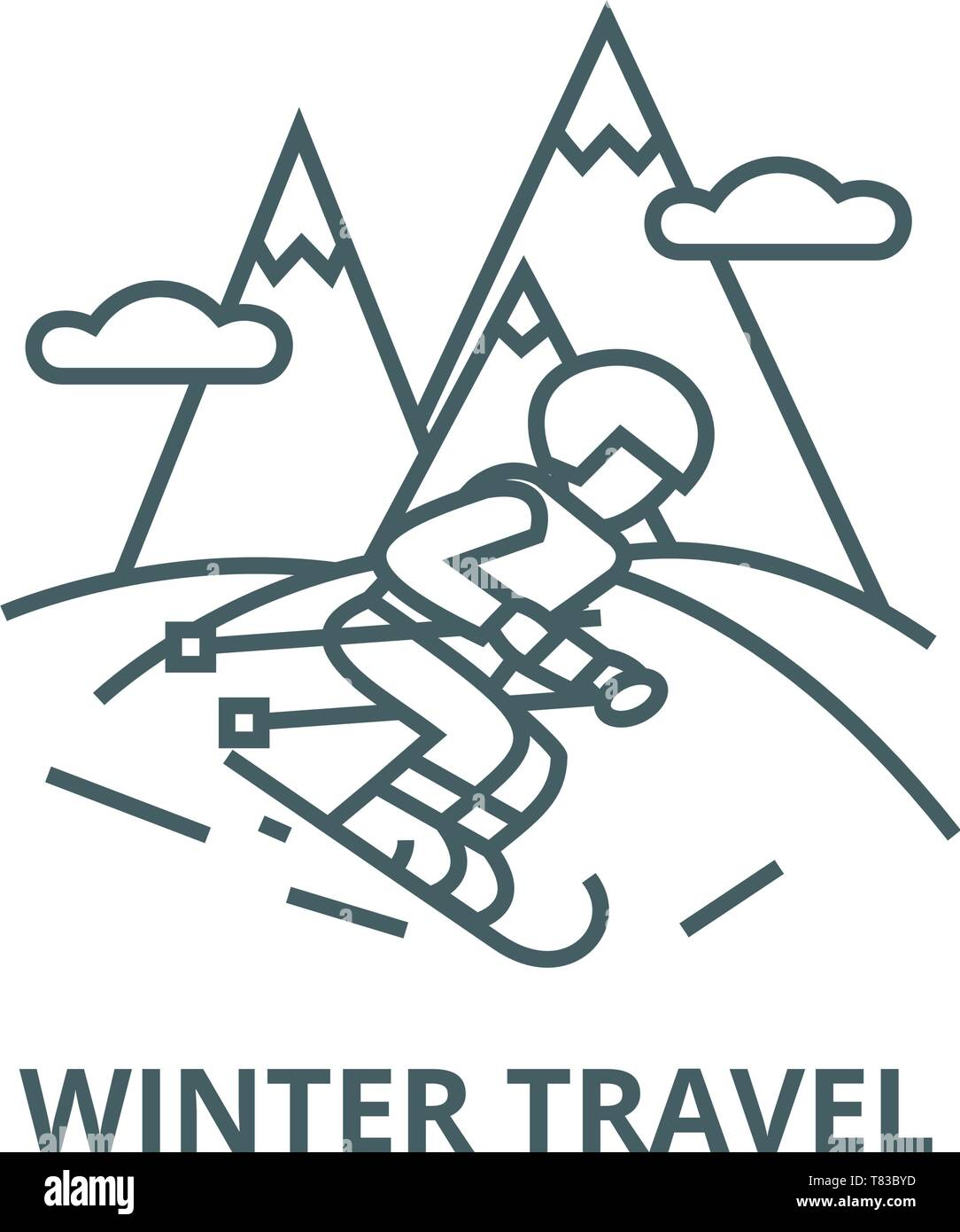 Travel winter,skier skiing in  vector line icon, linear concept, outline sign, symbol - Stock Image