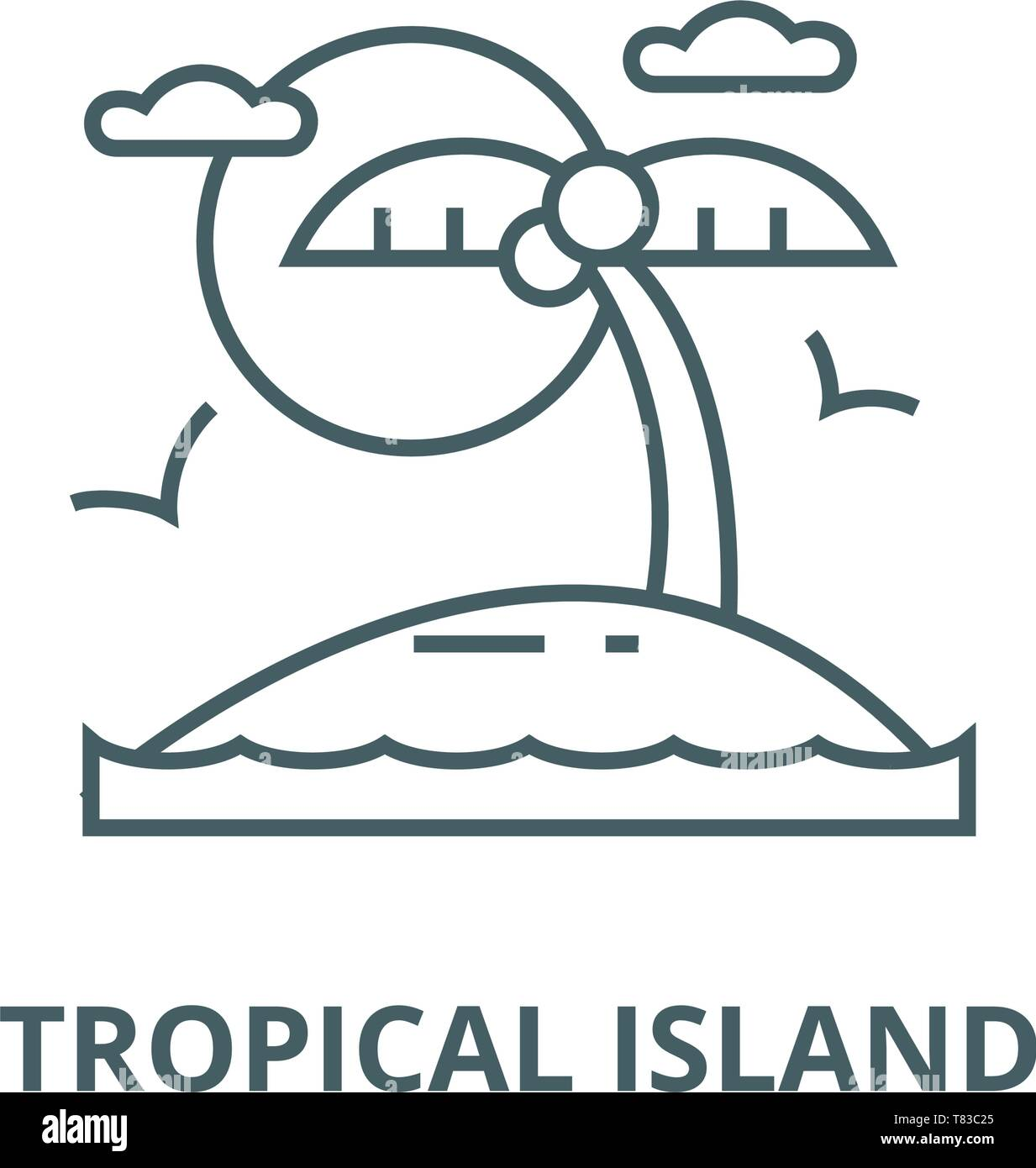 Tropical Beach Island Vector Line Icon Linear Concept